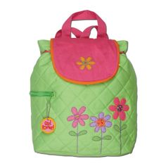 "Stephen Joseph Flower Backpack SJ-1001-45 •Fully Lined Backpack with Magnetic Snap Closure •100% Cotton •Machine Washable •Fun Coordinating Zipper Pull •Perfect for Monogramming •Approx. 13"" by 13.5""  FREE PERSONALIZATION WITH EVERY ORDER!!!"