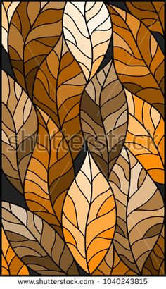 Illustration in stained glass style with leaves of trees, tone brown,sepia
