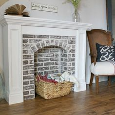 How to DIY a Faux Brick Fireplace and you'll never believe how easy it is! - Decoration Fireplace Garden art ideas Home accessories Small Fireplace, Brick Fireplace, Living Room With Fireplace, Farmhouse Fireplace, Farmhouse Decor, Fireplace Ideas, Diy Faux Fireplace, Cardboard Fireplace, Fireplace Remodel