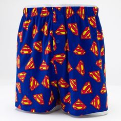 Men's Superman Boxers in a Tin ($12) ❤ liked on Polyvore featuring men's fashion, men's clothing, men's underwear, blue, mens cotton boxers, mens superman boxers and mens boxers
