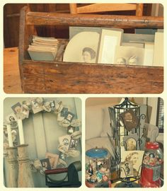 Old tool box, vintage post card rack and homemade wreath for displaying family photos - *Rook No. 17: recipes, crafts & whimsies for spreading joy*: