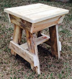 """DIY Pallet furniture - I made this stool from old recycled pallets, it's both fun and functional. You can find more pieces like this on our Facebook page """"Pallet Life"""" or come down to the Maleny markets on Sunday. I am currently selling these stools for $35.00 each + freight."""