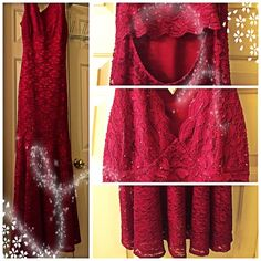 Stunning, Sequin Lace Embellished Mermaid Gown Details: Lace, Sequin Detailing, Glitter, Keyhole Back Cut Out Fabric: 98% Polyester, 2% Spandex, Lace Color: Maroon Lipstick Neckline: Scalloped, Plunge  **Glitter, Sequined Embellished, Form fitting to mermaid Design. Gown is lined until the knee, then lace becomes sheer. Classy for ANY event. Dress is Sold Out and appears to be discontinued from Macy's.com. Purchased at Macy's in Houston 2 wks ago for $140. Worn for two hours indoors for a…