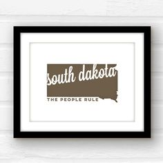 South Dakota state wall art  South Dakota by PaperFinchDesign
