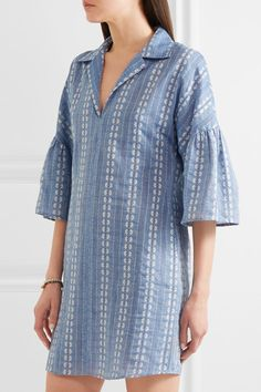 Splendid - Dolman Cotton-jacquard Mini Dress - Blue - x small