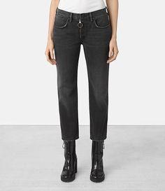 Womens Track Boyfriend Jeans (Black) - product_image_alt_text_1
