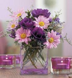 purple lisianthus and lavender daisies with limonium filler centerpiece