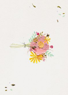 Paper flower collage cardmaking