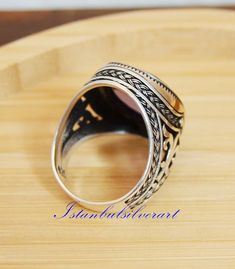 Turc fait main Ruby Sterling Silver 925K bronze ring Taille 6,7,8,9,10