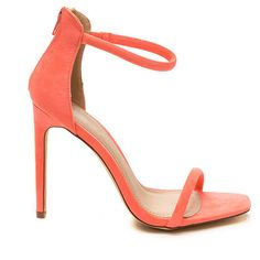 Just One Faux Suede Ankle Strap Heels NEONCORAL ($21) ❤ liked on Polyvore featuring shoes, pink, strap high heel shoes, strappy shoes, vegan shoes, open toe shoes and strappy high heel shoes