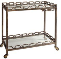 iron brass patina clear serving cart