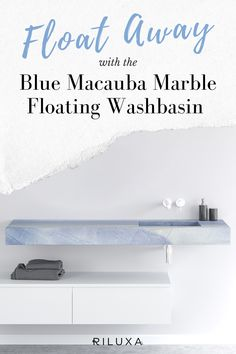 This striking wall-mounted washbasin in Blue Macauba marble is a beautiful statement sink in any modern bathroom. This unique stone from Brazil recalls a perfect blue sky - perfect if you're looking for an uplifting wall-hung sink for your bathroom design. #marblebathrooms #marble #bathroomideas #bathroomsinks #washbasin Countertop Basin, Geometric Tiles, Floating Vanity, Bath Or Shower, Modern Baths, Neutral Color Scheme, Marble Wall, Bathroom Basin, Minimalist Bathroom