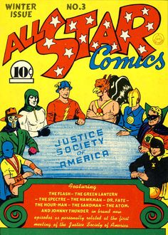 BAT-HISTORY, DEC 1940 - The first superhero team, the Justice Society of America, debuted in All Star Comics #3. Although not initially featured as members of the team, Batman and Superman were later revealed to be honorary members and would play major roles in both the JSA and later JLA.