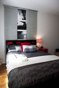 Amazing Red Accents In Bedrooms – 34 Stylish Ideas : Red Accents In Bedrooms 34 Stylish Ideas With White Gray Wall And Bed Pillow Blanket With Red Nightstand Lamp And Hardwood Flooring