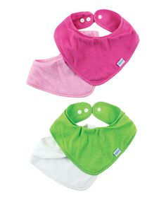 Loving this Pink & Green Bandanna Bib - Set of Four on #zulily! #zulilyfinds