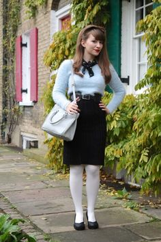 Outfit: fluff, cable-knit and ice-queen colours Colored Tights Outfit, Posing Tips, Ice Queen, My Wardrobe, Cable Knit, Going Out, Winter Outfits, High Waisted Skirt, Colours