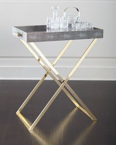 Shop AERIN home dècor at Neiman Marcus. Achieve that beachy golden style with these simple home accessories. Butler Table, Butler Tray, Rv Table Ideas, Butlers Tray Table, Small Tables, Side Tables, Contemporary Home Decor, Luxury Home Decor, Unique Furniture