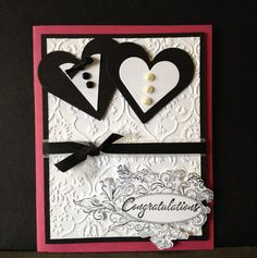 Wedding congratulations handmade card with hearts by MyCraftCave, $3.50
