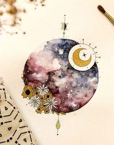 Moon Painting, Painting & Drawing, Watercolor Paintings, Original Paintings, Art And Illustration, Art Sketches, Art Drawings, Art Du Croquis, Watercolor Moon
