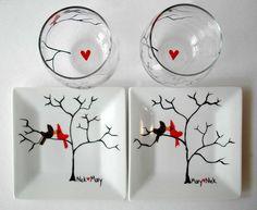 Amour personnalisé oiseaux Date nuit par MaryElizabethArts sur Etsy