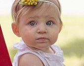 Mustard Yellow Wool Felt Shabby Chic Pom Rosette Headband (Newborn to Adult sizing Available)