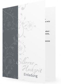 10 X Einladungskarten Zur Silberhochzeit, Grauer Rand Links, Helle  Blätterranken   Klappkarte   Erstellen