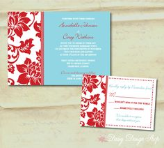 Wedding Invitation - Damask Border in Aqua and Red - Invitation and RSVP Card with Envelopes. $2.25, via Etsy.