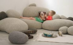 Livingstones: Over-sized pebble pillows bringing outdoors inside