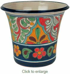 These extra large Talavera flower pots are hand crafted by Mexico's talented potters. Hand painted in traditional Talavera designs these quality Mexican pots are sure to add color to your family room or patio. Pottery Painting, Ceramic Painting, Pottery Art, Painted Plant Pots, Decorated Flower Pots, Talavera Pottery, Native American Pottery, Mexican Designs, Mexican Art