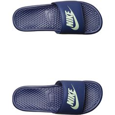 huge discount cb85a 4d987 Nike Benassi Just Do It Slide Blue ( 21) ❤ liked on Polyvore featuring men s