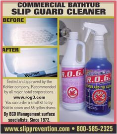 Fiberglass and Non-skid cleaner At last a cleaner that is supposed to actually work on those stubborn stains on fiberglass shower bases and non-skid surfaces. Can't wait to try it.. rog.com