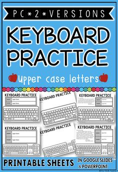 "I created these printables of the PC keyboard to help students ""practice"" typing their username and password when devices are not available and also be sent home for login extra practice. I have included two different versions (the function keys do not appear at the top of the keyboards):1. keyboard with upper case letters 2.keyboard with upper case letters and number pad Keyboard Typing, Pc Keyboard, Promethean Board, Elementary Teacher, Primary Classroom, Computer Lab, Mobile Learning, Educational Technology, Learn English"