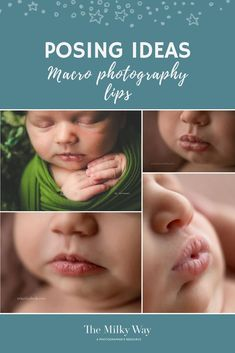 Posing ideas for newborn macro photography lips | Top left: Ally + B PhotographyTop right and bottom left: Erin Elizabeth PhotographyBottom right: Kristen Cook. After all, the whole reason why newborn photography is even a thing, is to capture those newborn features that fade as the days tick on. Newborn macro photography inspiration for your next newborn photo shoot. #newbornphotography #newborn #photography