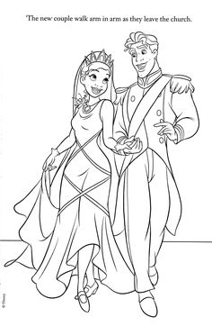 Tiana and Naveen Coloring Pages |