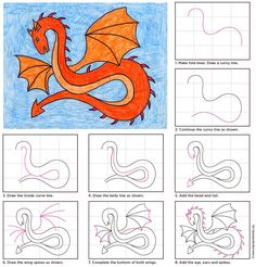 Draw a Spiked Dragon. PDF download. #dragon #howtodraw