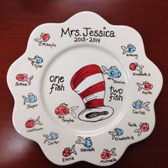Dr Seuss fingerprint pottery - wish we could do this for one teacher because it is awesome.