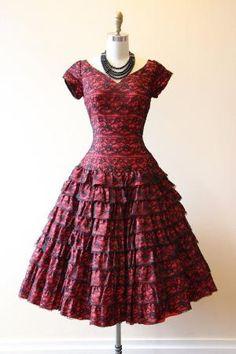 50s Dress Vintage 1950s Dress Red Black Spanish by jumblelaya by reva
