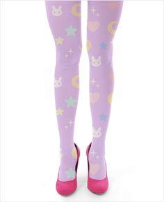 light purple cute Moon Bunny tights