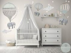 Med Set 3 Elephants Hot Air Balloons Neutral 2 Clouds stars moon nursery baby hand painted look movable fabric Wall decals Moon Nursery, Baby Nursery Decor, Baby Decor, Clouds Nursery, Nursery Room Ideas, Budget Nursery, Elephant Nursery Decor, Unisex Nursery Ideas, Baby Room Ideas For Girls