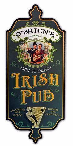 Personalized Irish Pub Harp Wood Sign Bar Man Cave Wall Decor #ThousandOaks #DublinerWoodSign