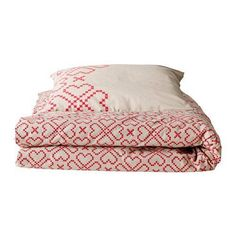 Ikea Ryssby 2014 Duvet Cover and Pillowcase, Twin, Red and Beige #Ikea