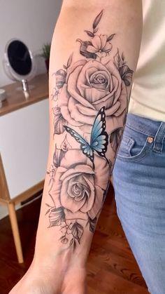 Rose Tattoos For Women, Hip Tattoos Women, Girl Arm Tattoos, Shoulder Tattoos For Women, Mom Tattoos, Hand Tattoos, Half Sleeve Tattoos For Women, Tatoos, Arm Tattoos For Females