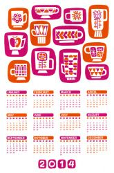 Mod Calendar 2014 by Rory Phillips for Crafty Wonderland *retro coffee cups*