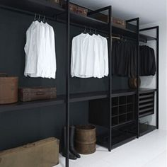 Statement wardrobe | love this black walk-in robe