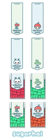 Super cute free printable holiday tic tac labels including mistletoe mints, reindeer noses, snowman noses, and elf poop. Click image to go to download page.