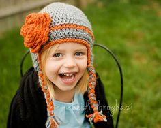 cute unexpected color combo for girls' hat - light gray with pumpkin.