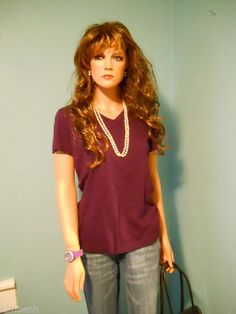 Lady Foot Locker PURPLE Cotton Stretch VEE Neck T-Shirt Size M #LadyFootLocker #BasicTee
