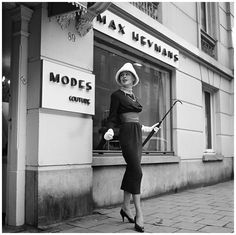 1962. Dutch model Loes Hamel show the new collection of designer Max Heijmans. #amsterdam #1962