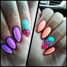 Pop Art Stiletto Nails