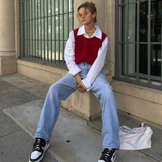 Sweater Vest Outfit, Vest Outfits, Indie Outfits, Teen Fashion Outfits, Cute Casual Outfits, Retro Outfits, Look Fashion, Winter Outfits, Vintage Outfits